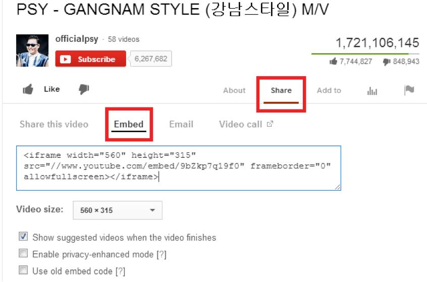 Lấy link Youtube nhúng vào Website