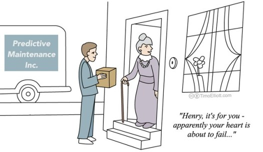 "IOT cartoon: predictive maintenance for health : ""henry, it's for you, apparently your heart is about to fail!"""
