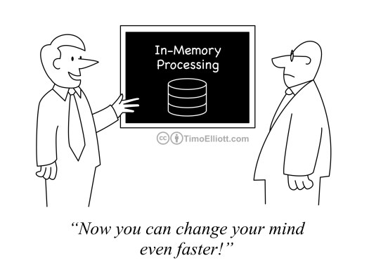 Cartoon on in-memory processing. The benefits is now you can change your mind even faster!