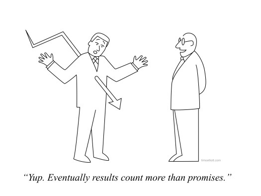 Cartoon Eventually, results count more than promises... you can't escape data.