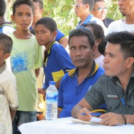 Mestre Andre, mastermind of the day, in the blue school uniform. He spent many weeks of volunteer time to organize this and prep all the kids. He was quite happy with the results, and we'll meet with him to talk about how to improve it still further.
