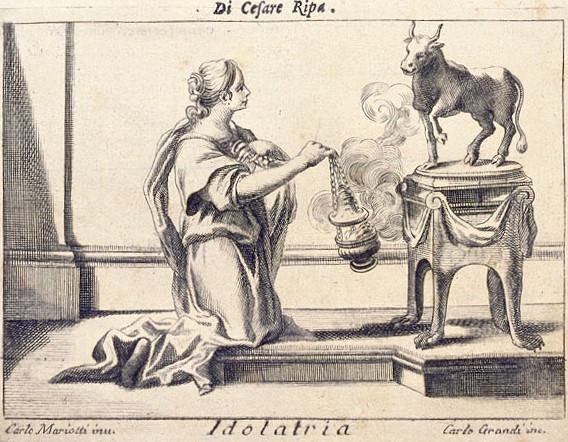 Adoratrice inginocchiata davanti a una statua di toro che gli offre incenso