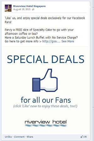 Digital Marketing Consultant Singapore - Portfolio - Facebook Marketing - Special Deals to Increase Fans for Facebook Page