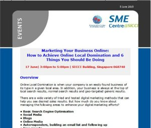 Digital Marketing Consultant - Talk at SME Centre at SICCI - email newsletter promoting event - thumbnail