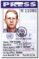 Tim Ripley's Press Card