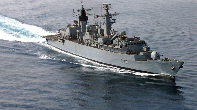 HMS Cornwall (F 99) transits through the Persian Gulf in 2007. Photo: US Navy