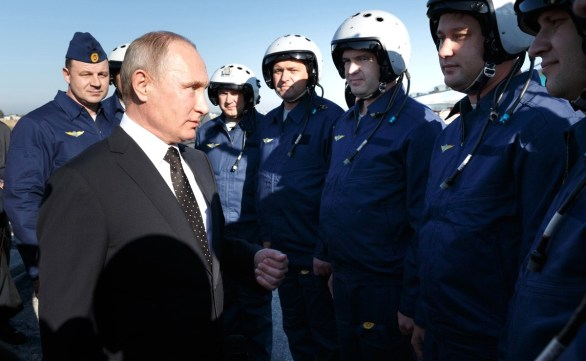 Vladimir Putin at Khmeimim air base in Syria in December 2017.