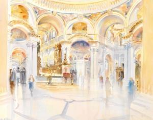 """St Pauls Cathedral afternoon watercolour 24""""X18"""""""