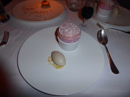 Raspberry Souffle with tonk a beanie cream