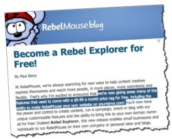 Rebelmouse drops subscription fee