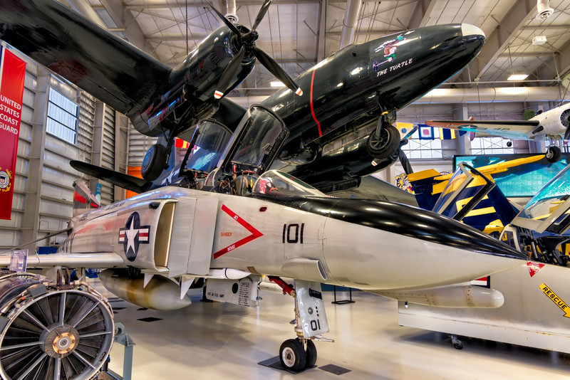 In the corner of Hanger Bay One at the National Naval Aviation Museum are the P2V-1 Neptune, aka the Truculent Turtle and the F-4N Phantom II from the aircraft carrier Midway.