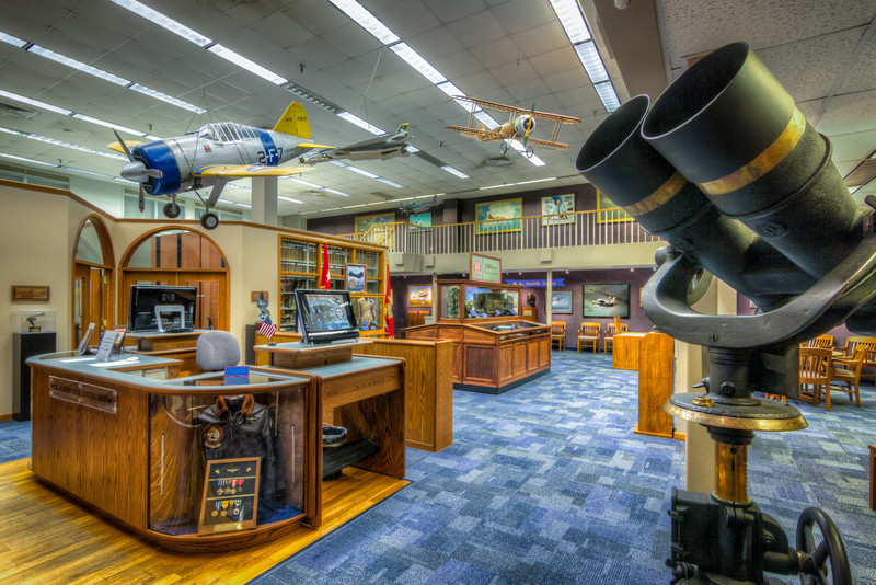 With beautiful paintings, models from the ceiling and other great aviation related items, the Emil Buehler Library says come in and stay awhile. Photograph by Tim Stanley Photography.