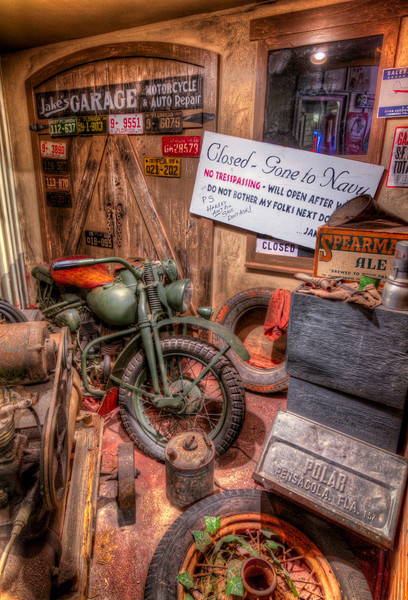 The country is at war and nothing is the same as it used to be. Jake's Garage is another scene from the Home Front U.S.A. exhibit at the National Naval Aviation Museum in Pensacola, Florida. Photo by Tim Stanley Photography.