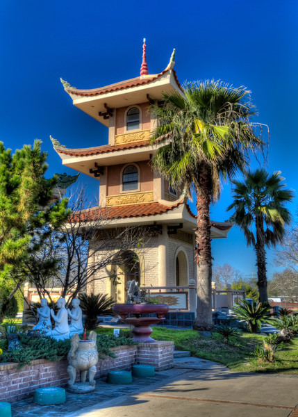Most pagodas in Asia were often located in or near temples. This newer structure is located adjacent to a Buddhist temple in southwest Houston. Photo by Tim Stanley Photography.