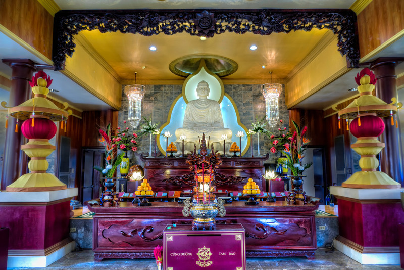 Religious worship comes in many forms from many cultures. This Vietnamese Buddhist temple in southwest Houston is very  colorful and quite a site to see in person. The simple exterior of the building doesn't prepare you for the ornate worship area where Buddha sits center stage. Photo by Tim Stanley Photography.