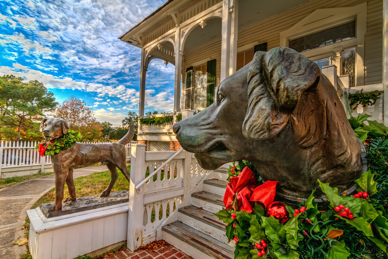 These cast iron dogs stand guard at the Pillot House in Sam Houston Park. Photo by Tim Stanley Photography.