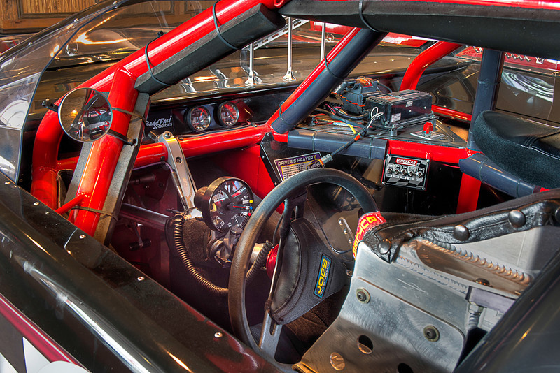 In this race car, this roll cage protects the driver in case of an accident and the extra gauges keeps the driver informed of the car's performance. Photo by Tim Stanley Photography.