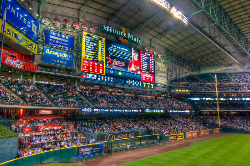 The scoreboard in Houston is one of the best I've seen. The picture is sharp, bright, colorful and the video makes you want to sneak it out and take it home. I wonder if they would notice it sticking out of my back pocket? Photo by Tim Stanley Photography.