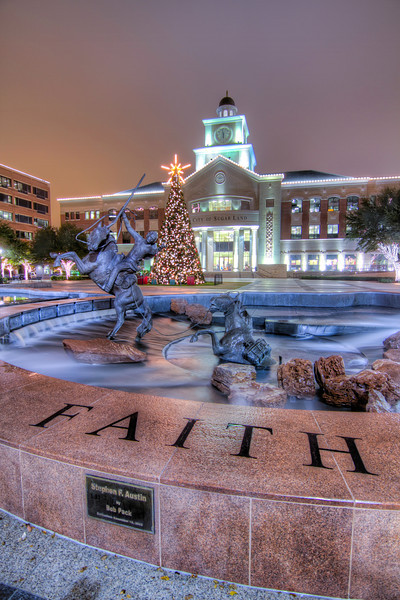 The large fountain in front of City Hall in Sugar Land, Texas at Christmas.