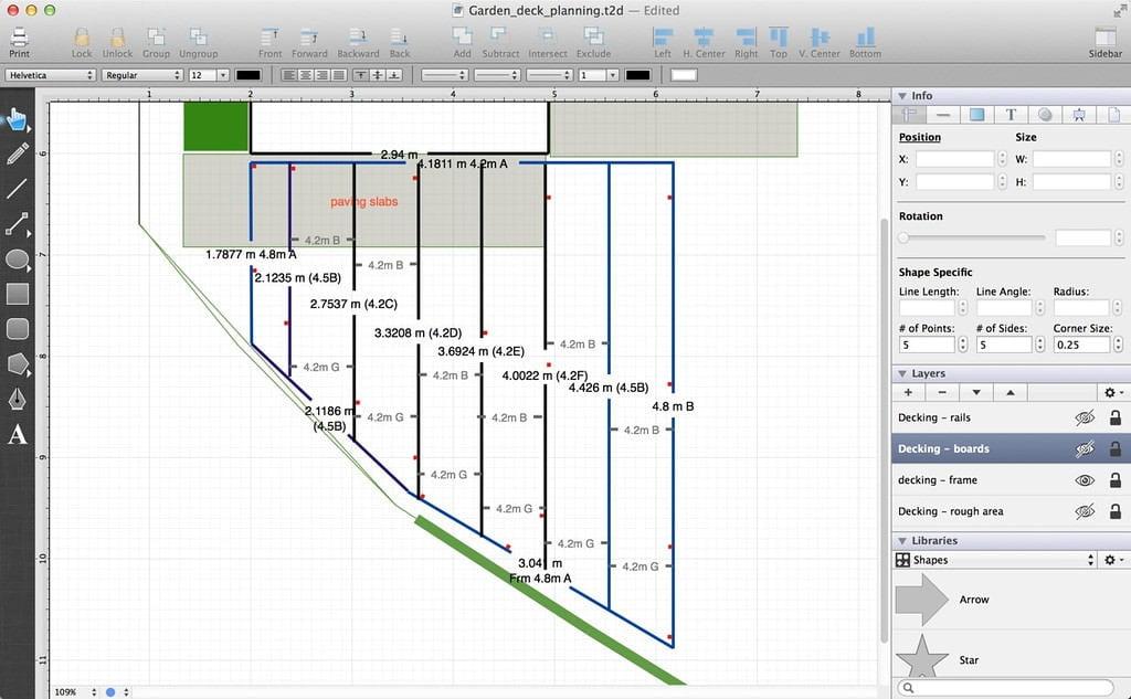 TouchDraw decking plan - framework