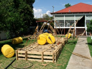 Raft platform in construction. Made from ex windscreen pallets.