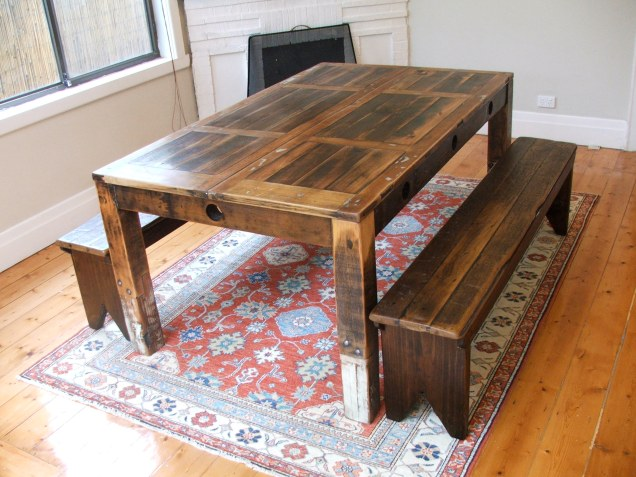 Recycled timber furniture dining table and benches