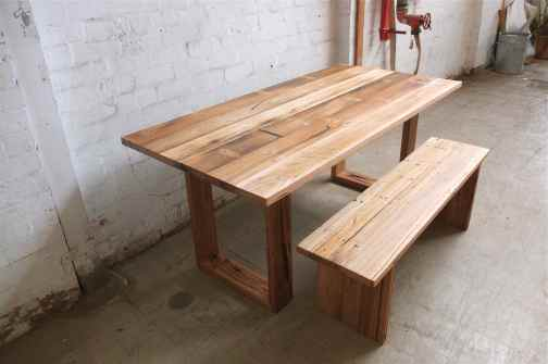 Rustic recycled hardwood table with bench seat