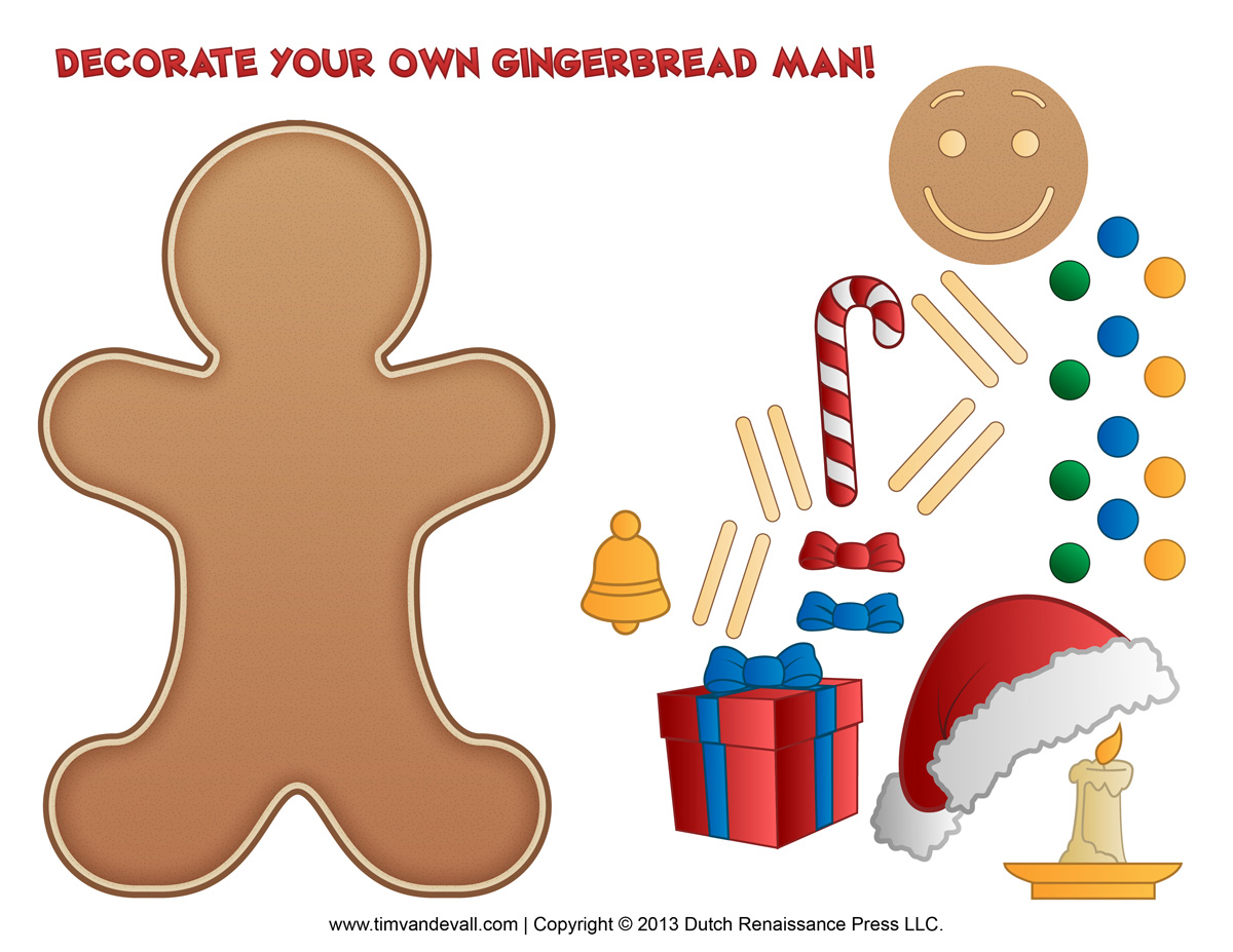 Gingerbread Man Template Clipart Amp Coloring Page For Kids