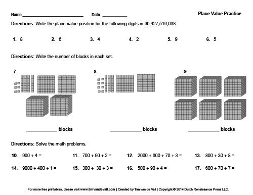 Printable Place Value Worksheet