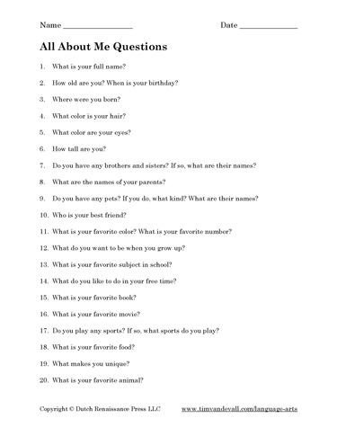 All About Me Questions