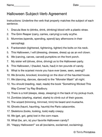 Halloween-Subject-Verb-Agreement-Worksheet
