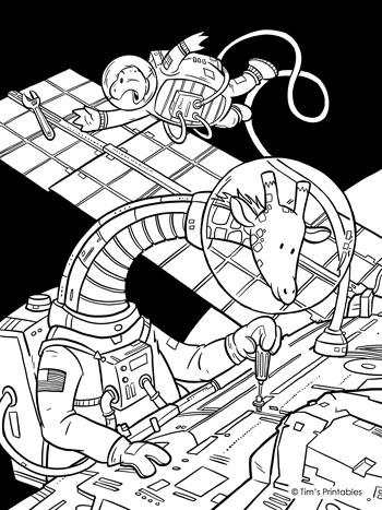 Giraffe Space Walk Coloring Page