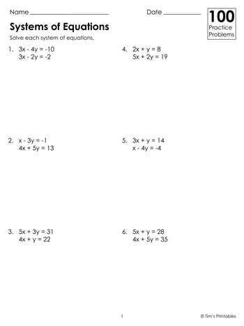 systems-of-equations-worksheets-100-practice-problems