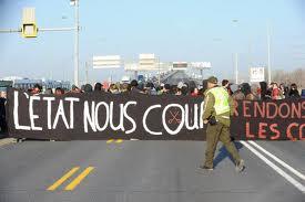 Montreal Students Striking on the Champlain Bridge