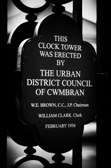Cwmbran Council plaque on the Old Cwmbran War Memorial Clock