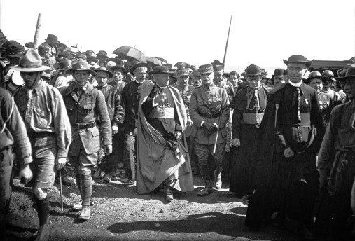 Monseigneur Ceretti, Julien and Maréchal Foch arrive at Notre Dame de Lorette for the main ossuray blessing, 21May 1922.