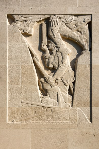 Bas-relief sculpture on the left side of the Cambrai Memorial, Louverval, France.