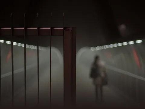 Girl walking alone down a foggy road.
