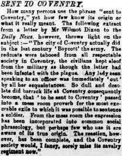 Sent to Coventry 1882