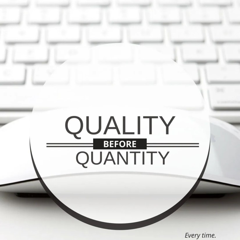 A pithy blog post adds quality. Put quality before quantity. Keyboard and mouse in background