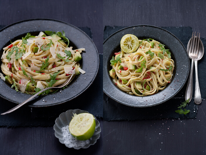 Pasta with lemon avocado sauce