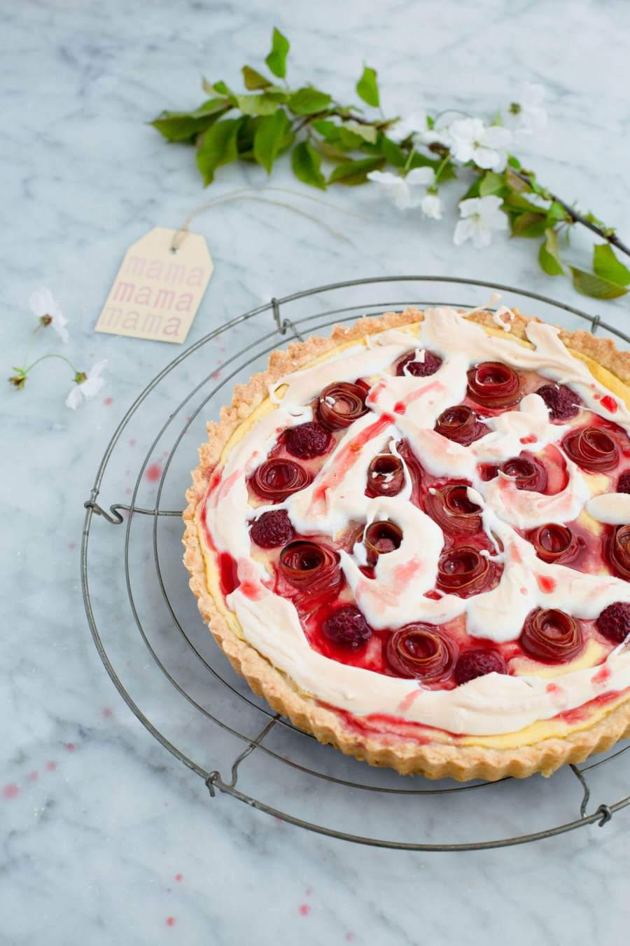 Rhabarber-Rosen-Kuchen
