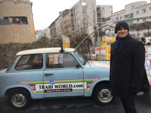 My boyfriend standing beside a Trabi