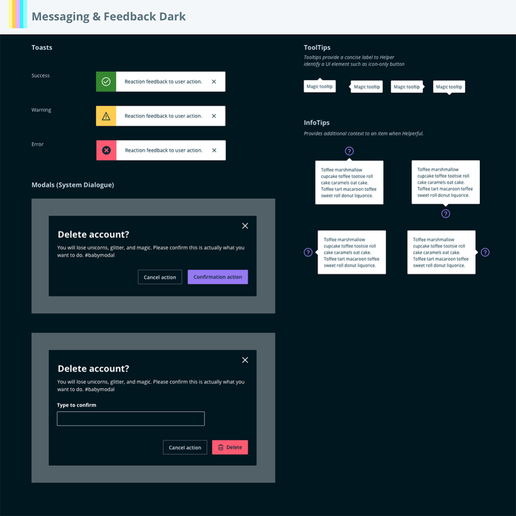Dark mode: Feedback components