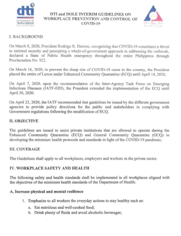 DOLE DTI Guidelines