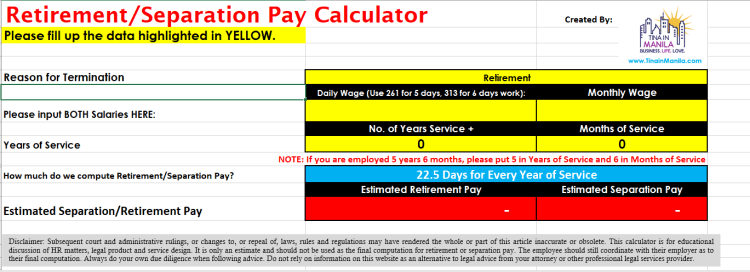 Retirement Pay Calculator