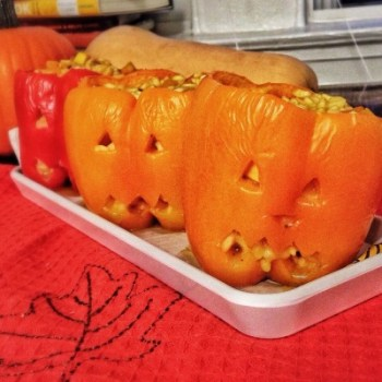 #Healthy Dinner.: #Halloween Stuffed Pepper -kins. Filled with butternut squash risotto. Fun to make, and fun to eat! #FuelYourFuture