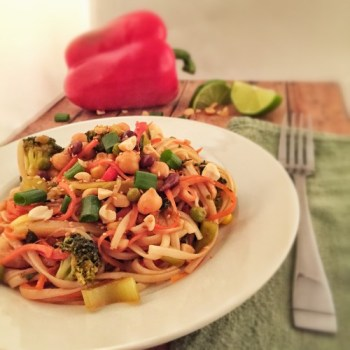 This vegetarian pad thai a great recovery meal for runners, made by elite runner Tina Muir.