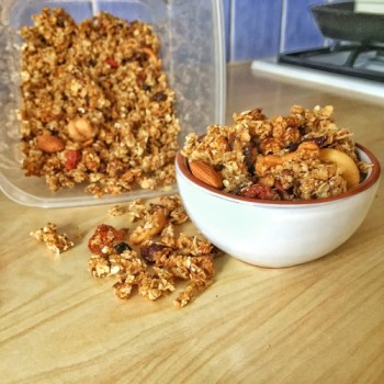 This Date and Nut Granola from elite runner Tina Muir is absolutely delicious, and perfect with milk, yogurt, on ice cream, or even just on its own. Yum!