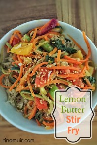 Elite runner Tina Muir shares a new twist on the traditional stir fry by spiralizing the vegetables, and adding a lemon butter sauce. Butter is good for you, despite what we have been made to believe, and this is a delicious, healthy meal to enjoy with the vegetables of your choice.